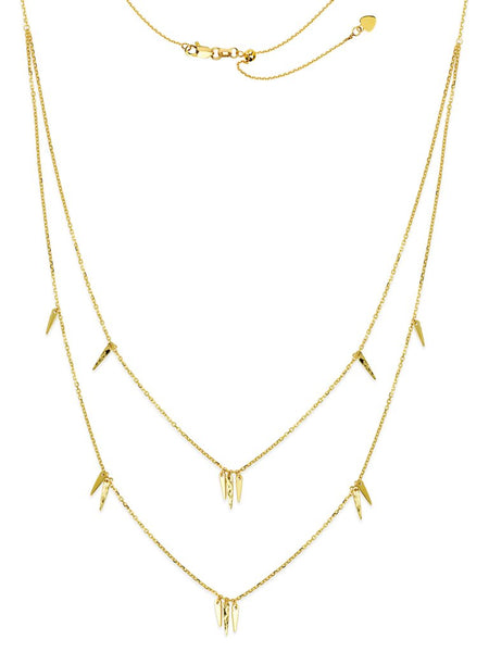 14K Gold Spike Dangles Layered Station Necklace | Avie Fine Jewelry