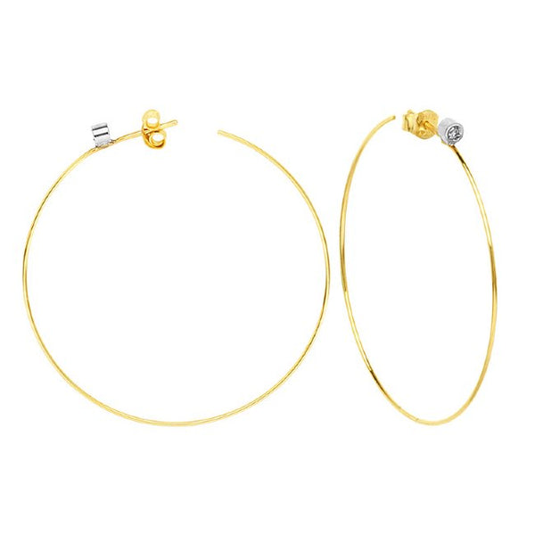 14K Gold Diamond Thin Hoop Earrings | Avie Fine Jewelry