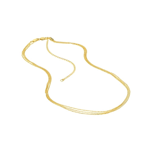 14K Gold Triple Layered Bead Chain Necklace | Avie Fine Jewelry