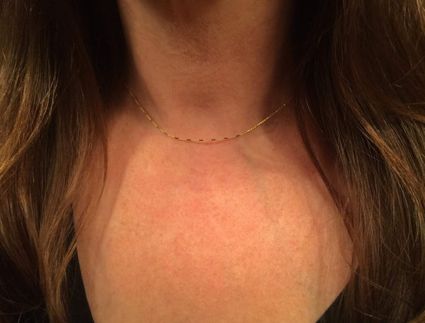 14K Gold Tiny Beaded Bar Chain Necklace | Avie Fine Jewelry