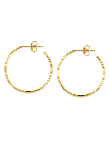 14K Gold 25mm Post Hoop Earrings | Avie Fine Jewelry