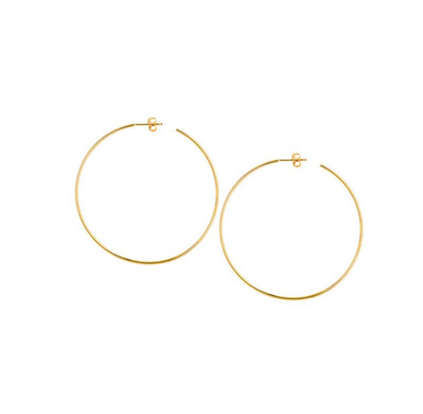 14K Gold 50mm Post Hoop Earrings | Avie Fine Jewelry