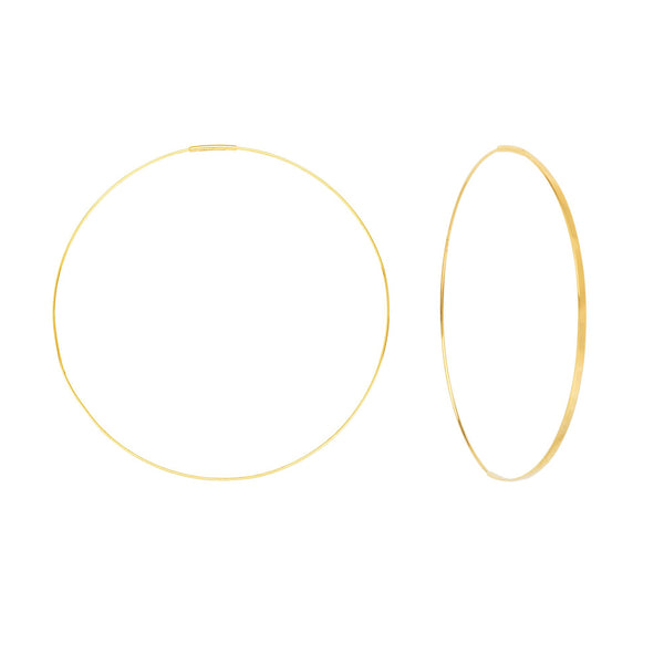 14K Gold 60mm Flat Front Endless Hoop Earrings | Avie Fine Jewelry