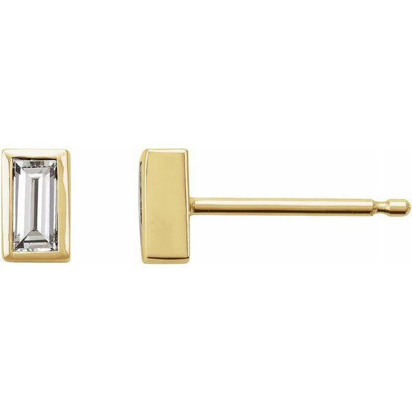 14K Gold Baby Baguette Diamond Stud Earrings | Avie Fine Jewelry