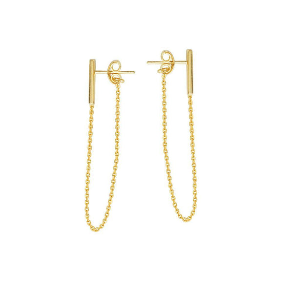 14K Gold Bar and Chain Stud Earrings | Avie Fine Jewelry
