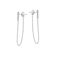 14K White Gold Bar and Chain Stud Earrings | Avie Fine Jewelry