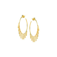 14K Gold Bar Shaker Hoop Earrings | Avie Fine Jewelry