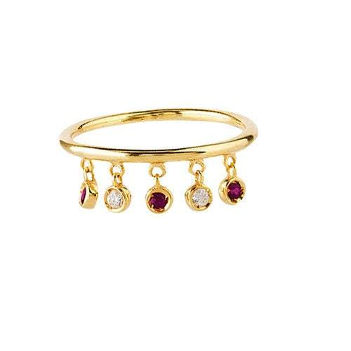 14K Gold Diamond and Ruby Dangle Ring | Avie Fine Jewelry