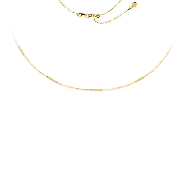 14K Solid Gold Five Bars Station Adjustable Choker Necklace | Avie Fine Jewelry