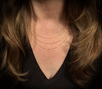 14K Gold Three Layered Sequin Chain Necklace | Avie Fine Jewelry