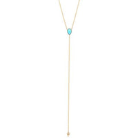 14K Gold Turquoise Pear Lariat Y Necklace | Avie Fine Jewelry