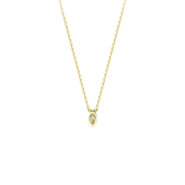 14K Gold Tiny Marquise Diamond Solitaire Necklace | Avie Fine Jewelry