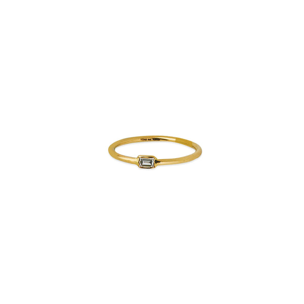 Tiny 14K Gold Baguette Diamond Wire Stacking Ring | Avie Fine Jewelry