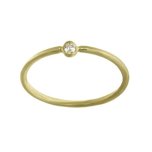 Tiny 14K Gold Diamond Solitaire Stacking Ring | Avie Fine Jewelry