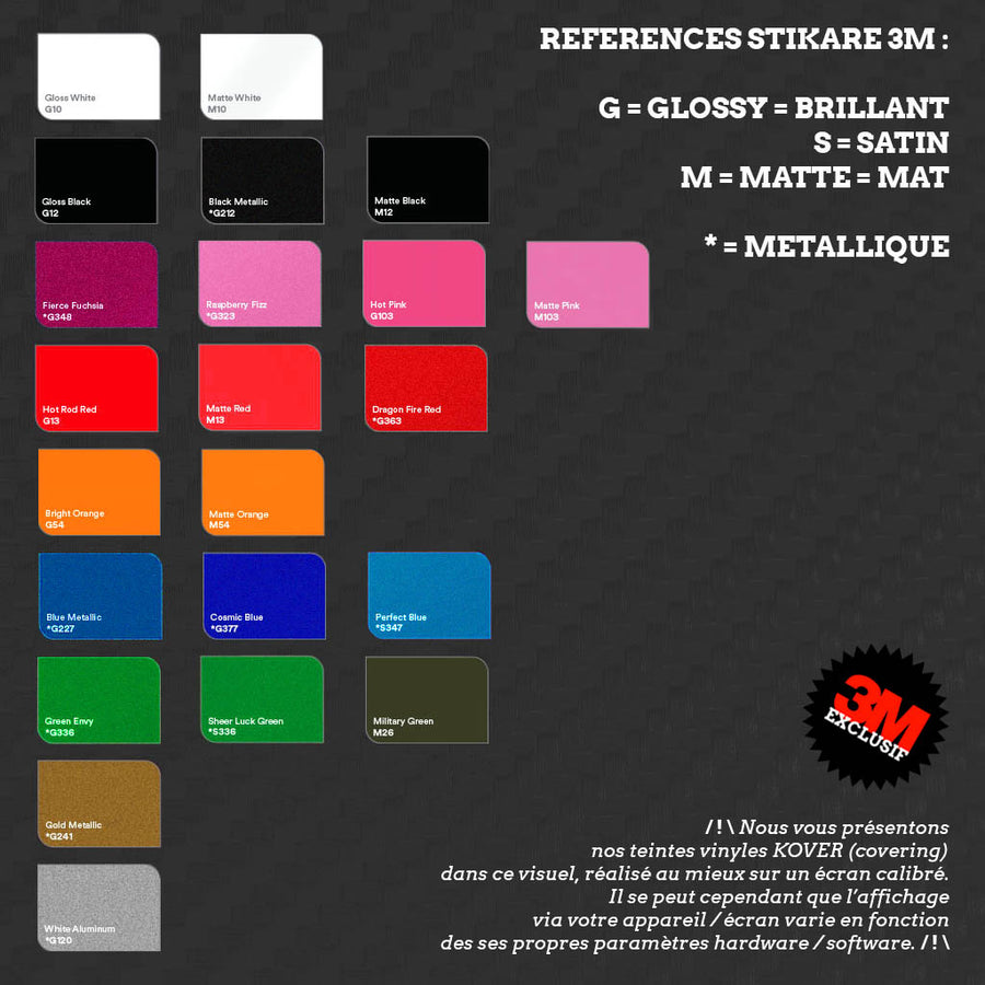 plak feuille A4 A5 vinyle 3M covering auto moto (variations couleurs) covering auto moto
