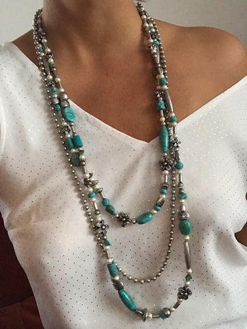 Collier triple turquoise