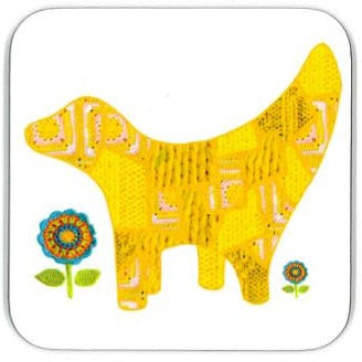 Coaster with an illustration of the Super Lambanana statue on it, made from a photo-collage of knitted fabric in Tula Moon's distinctive bright patchwork style.