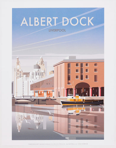 Print showing an illustration of Albert Dock in Liverpool
