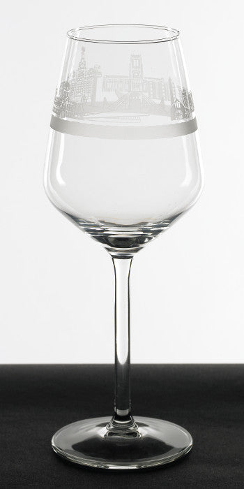 Wine glass with Liverpool's waterfront skyline engraved around the rim