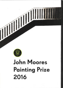 Front cover of John Moores Painting Prize 2016 catalogue showing a black and white painting of a staircase