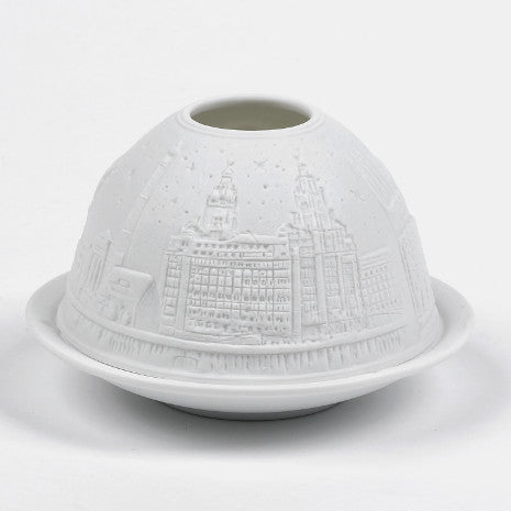Round white china tealight holder with Liverpool's skyline embossed around the outside.