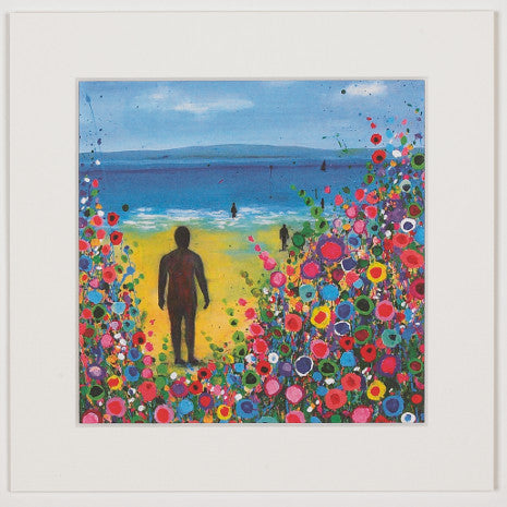 Print of a painting showing the iron man sculptures on Crosby beach surrounded by abstract flowers.