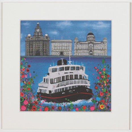 Print of a painting of a ferry crossing the river Mersey in front of the 'three graces' Liverpool buildings.