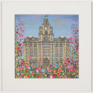 Print of a painting of Liverpool's icon Liver Building surrounded by abstract flowers.