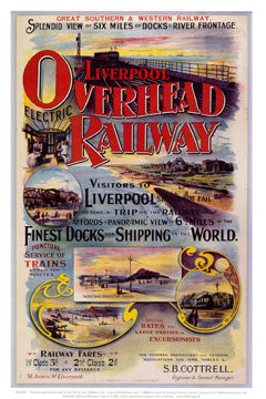 Reproduction poster advertising the Liverpool Overhead Railway with some illustrations of scenery on the route.