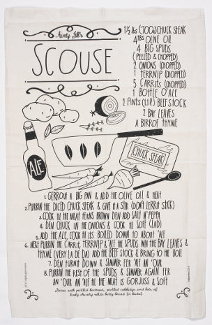 Tea towel featuring a recipe for 'scouse' stew, written in scouse English.