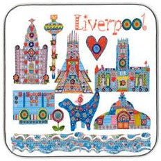 A coaster featuring illustrations of some of Liverpool's most iconic landmarks in Tula Moon's distinctive bright patchwork style.