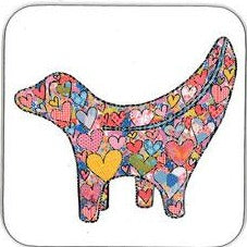 Coaster with a stylised image of the super lambanana (half lamb, half banana) on it in Tula Moon's distinctive bright patchwork style.