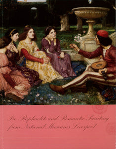 Front cover of catalogue from Victorian Treasures exhibition, featuring a painting of three women and a man sat in a garden listening to music.