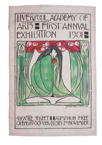 Rectangular tea towel showing a reproduction of a poster advertising a Liverpool Academy of Arts exhibition, featuring an illustration of a woman, crouched, dressed in a green and holding a red flower.