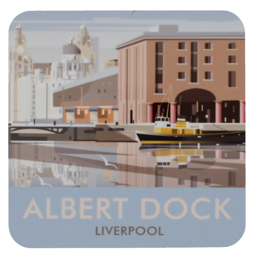 Square coaster with an illustration of Liverpool's Albert Dock.