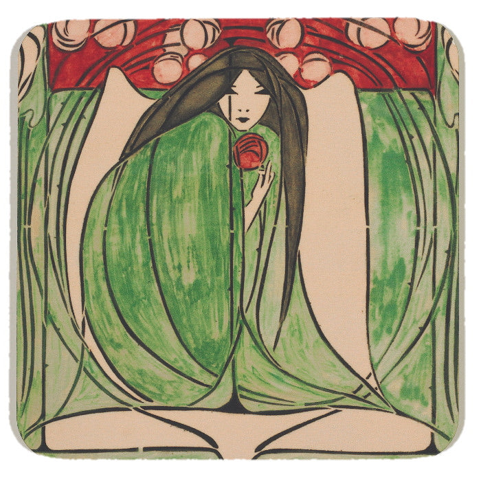 Square coaster with rounded corners, showing an illustration of a crouched woman in a green dress holding a red flower.