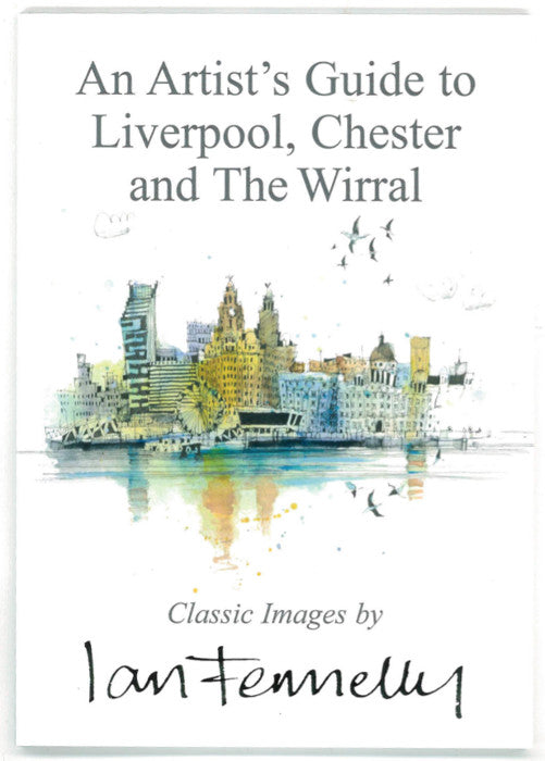 Front cover of An Artist's Guide to Liverpool, Chester and The Wirral, featuring a watercolour painting of Liverpool seen from the Wirral.