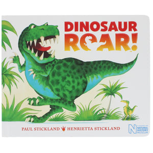 Front cover of Dinosaur Roar featuring an illustration of a ferocious looking T. Rex roaring