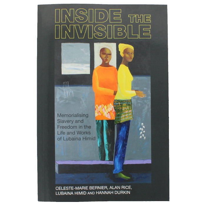 Front cover of Inside the Invisible, showing a painting of two black women looking at the viewer in front of a block coloured background.
