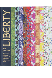 Front cover of Liberty The History, with several horizontal bands of iconic Liberty prints