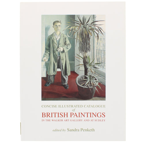 Front cover of British Paintings with a painting of a man by a window next to a large houseplant.