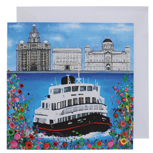 Greeting card with a painting of a ferry going across the Mersey in front of the 'three graces' Liverpool buildings.