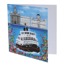 Load image into Gallery viewer, Greeting card with a painting of a ferry going across the Mersey in front of the 'three graces' Liverpool buildings.