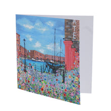 Load image into Gallery viewer, Floral Albert Dock Greeting Card Open