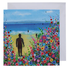 Load image into Gallery viewer, Greeting card with a painting of the statues on Crosby beach in the sunshine with a floral design.