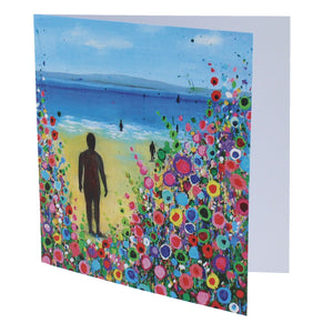 Greeting card with a painting of the statues on Crosby beach in the sunshine with a floral design.