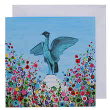 Load image into Gallery viewer, Greeting card with a painting of the Liver bird statue surrounded by abstract flowers.