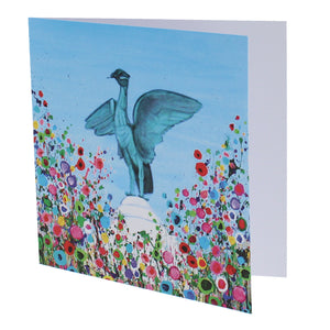 Greeting card with a painting of the Liver bird statue surrounded by abstract flowers.