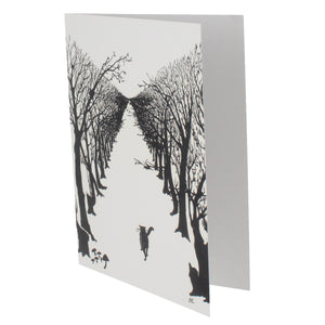 Greeting card showing a black and white illustration of a cat walking alone through an avenue of trees.