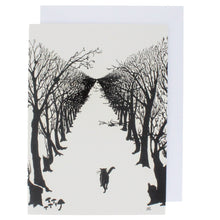 Load image into Gallery viewer, Greeting card showing a black and white illustration of a cat walking alone through an avenue of trees.